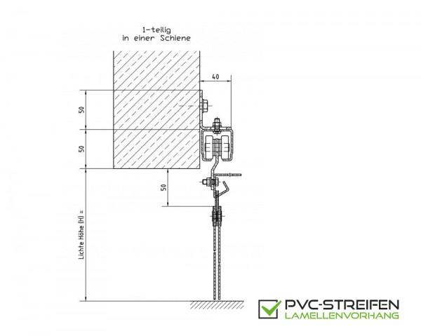 Schiebevorrichtung PVC Streifenvorhang 1-teilig für VOR-Sturz (Wand)