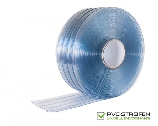 PVC Streifen GERIPPT 200 x 2 mm standard blau-transparent als Zuschnitt