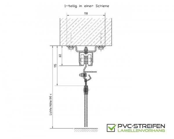 Schiebevorrichtung PVC Streifenvorhang 1-teilig für UNTER-Sturz (Decke)
