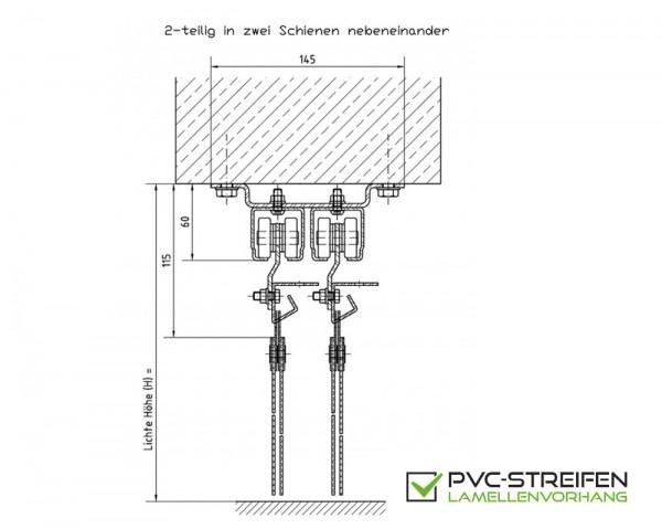 Schiebetür Vorrichtung PVC Vorhang 2-teilig parallel für UNTER-Sturz (Decke)